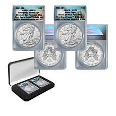2021 MS70 ANACS S-Mint & W-Mint FDOI LE 2021 Silver Eagles - Set of 2