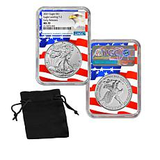 """2021 MS70 NGC """"Early Releases"""" Type II Silver Eagle Dollar Coin"""