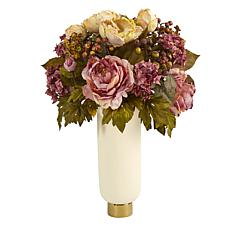22 in. Peony Artificial Arrangement in Cream Vase with Gold Base