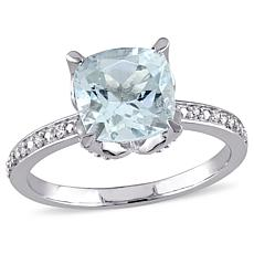 2.21ctw Aquamarine and Diamond 10K Round  Ring