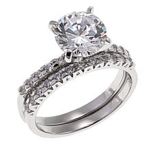 2.33ctw Absolute™ Round Solitaire with Pavé Sides 2-piece Ring Set
