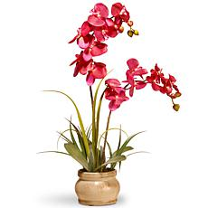 "24"" Artificial Pink Orchid in Ceramic Pot"