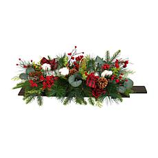"""24"""" Holiday Berries, Pinecones and Eucalyptus Christmas Table"""