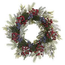 24 in. Pine and Cedar Artificial Wreath with Berries