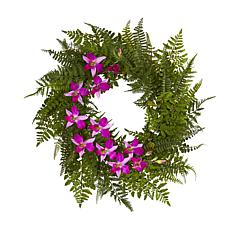 """24"""" Mixed Fern & Dendrobium Orchid Artificial Wreath"""