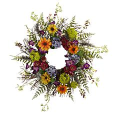 "24"" Spring Garden Wreath with Twig Base"