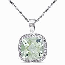 2.74ctw Prasiolite and Diamond 10K Halo Pendant