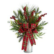 """28"""" Holiday Winter Greenery, Berries and Plaid Bow Decoration"""