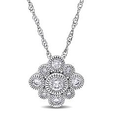 .28ctw Diamond 14K White Gold Round Cluster Pendant wit