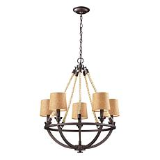 "29"" Natural Rope Aged Bronze Chandelier"