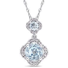 2ctw Blue Topaz and Diamond 14K  Double Drop Pendant