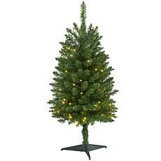 3 ft. Slim Green Mountain Pine Artificial Christmas Tree with 50 Cl...
