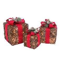 3-piece Christmas Gift Boxes of Natural Vine with Red Ribbon Accent