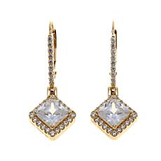 3.08ctw Absolute™ 14K Yellow Gold Square Drop Earrings