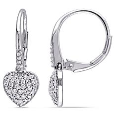 .32ctw Diamond 10K White Gold Pavé Heart Drop Earrings