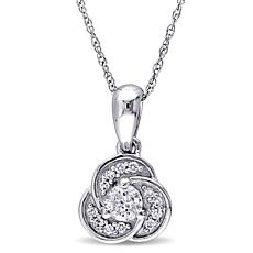 .32ctw Diamond 10K White Gold Semi-Swirl Pendant with 1