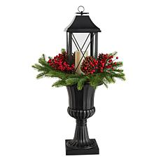 """33"""" Holiday Greenery, Berries and Pinecones in Decorative Urn"""