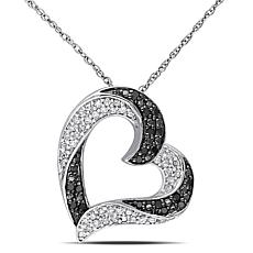 .33ctw Black and White Diamond  Ribbon Heart Pendant