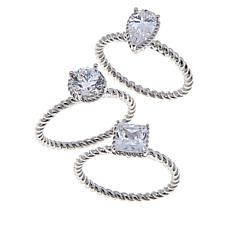 3ctw Absolute™  Pear, Round and Square 3-piece Ring Set