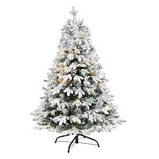 4' Flocked Vermont Mixed Pine Artificial Christmas Tree with 100 Cl...