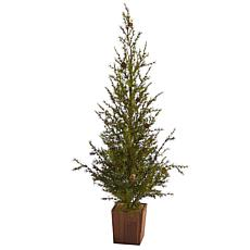 4 ft. Alpine Natural Look Artificial Christmas Tree in Wood Planter...