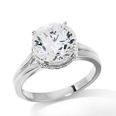 4.21ctw Absolute™ Round Pavé Collar Solitaire Ring