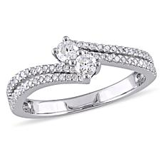 .48ctw Diamond 14K White Gold Double-Row Bypass Ring