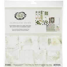 """49 And Market Collection Pack 12"""" x 12"""" - Vintage Artistry Sage"""