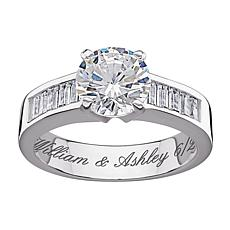 4.96ctw Round and Baguette CZ Engraved Engagement Ring