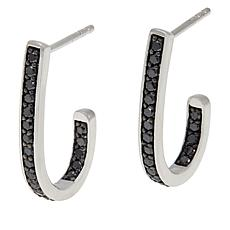.49ctw Colored Diamond Sterling Silver J-Hoop Earrings