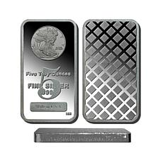 5 Troy oz. 99.9% Silver Bar w/Walking Liberty Design