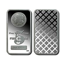 5 Troy oz. Proof 99.9% Silver Bar with Morgan Dollar Design