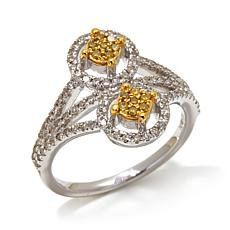 .50ctw Yellow and White Diamond Stacked Cluster Ring