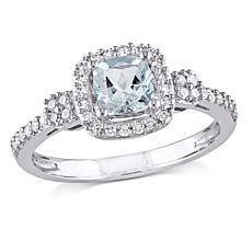 .69ctw Aquamarine and Diamond 10K  Cushion Ring