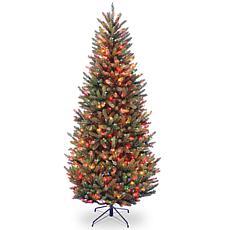 7-1/2' Natural Fraser Slim Hinged Tree w/Multicolor