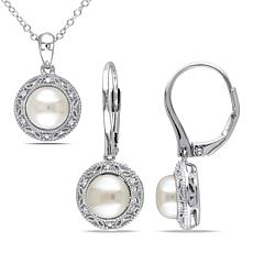 7.5-8mm Cultured Pearl and Diamond-Accented Earrings and Pendant Set