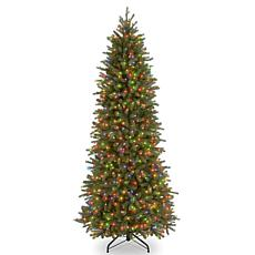 7.5 ft. FEEL-REAL® Jersey Fraser Fir Pencil Slim Tree with Multicol...