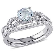 .89ctw Aquamarine and Diamond 10K 2pc Ring Set