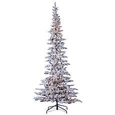 9' Flocked Narrow Austin Pine Tree - 600 Clear Lights