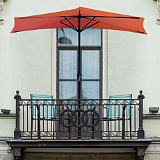 9' Half-Round Patio Umbrella with Easy Crank - Terracotta