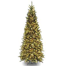 9' Tiffany Slim Fir Hinged Tree w/Lights