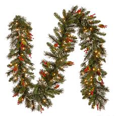 9' Wintry Pine Garland w/Lights