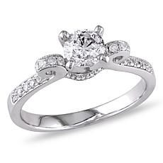 .98ctw White Diamond 14K White Gold Round Scroll Ring
