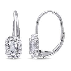 .98ctw White Sapphire 10K White Gold Leverback Earrings