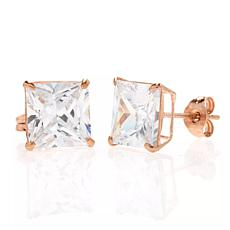 A&M 14K Rose Gold 4mm Square Cubic Zirconia Stud Earrings