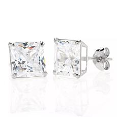 A&M 14K White Gold 8mm Square Cubic Zirconia Stud Earrings