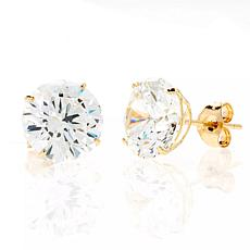 A&M 14K Yellow Gold 5mm Round Cubic Zirconia Stud Earrings