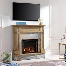 Abril Stone Media Fireplace - Weathered Gray Oak with Rustic Marble