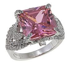 Absolute™ 10.57ctw Pink and Clear CZ  Large Stone Gallery Ring