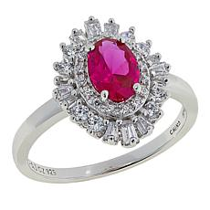 Absolute™ 1.11ctw Created Ruby and CZ Sterling Silver Cluster Ring